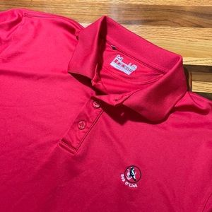 Under Armour men's L Large red polo golf shirt EUC